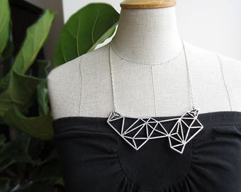 Large geometric bib necklace, huge statement necklace, geometric necklace, bronze necklace, silver bib necklace, metal bib, gift for her