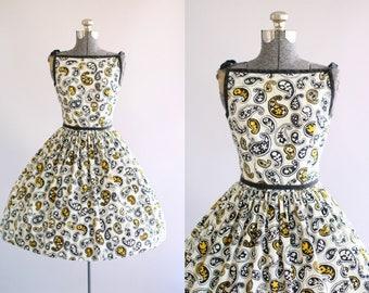Vintage 1950s Dress / 50s Cotton Dress / Lanz Originals Black and Yellow Paisley and Botanical Print Dress XS