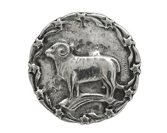 2 Standing Ram 7/8 inch ( 22 mm ) Pewter Buttons