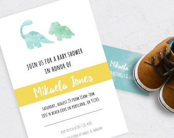 Dinosaur Baby Shower or Birthday Invitation (Downloadable)