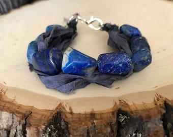 Lapis Lazuli and Sari Silk Bracelet