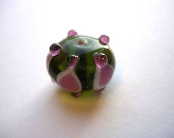 Saucer Olivine green Lampwork bead and rose 18 mm