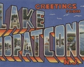 Lake Hopatcong, New Jersey - Large Letter Scenes (Art Prints available in multiple sizes)
