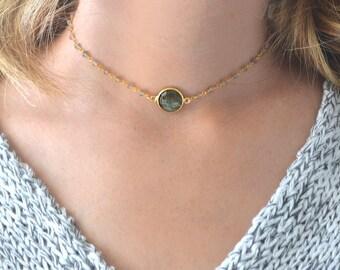 Gold Choker Necklace | Gemstone Choker | Labradorite Choker | Choker Necklace | Beaded Choker | Rosary Chain Choker | Gold Dainty Choker