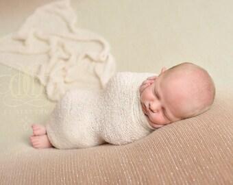 Cream Stretch Knit Wrap Newborn Baby Photography Prop