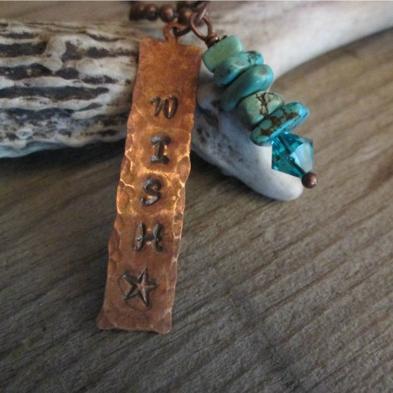 Make A Wish Necklace, Stamped Metal Necklace,Stamped Necklace