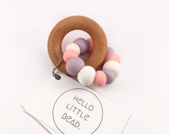 Teething Toy FAIRY FLOSS - Silicone and Beech Teething Toy Chunky Silicone Teething Ring - Baby Teether - Wooden Teether
