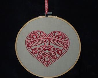 Handmade Tribal Heart Embroidery Hoop Wall Art