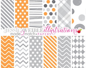 Made 2 Match Little Mummys Cute Digital Papers - Commercial Use Ok - Gray and Orange Digital Papers, Backgrounds, Halloween