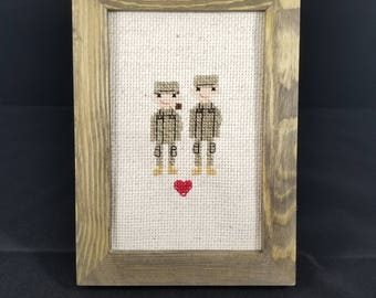 Custom Military Uniform Couple Cross Stitch, Portrait, Personalized, Gift, Air Force, Army, Coast Guard, Navy, Gift for Her, Gift for Him