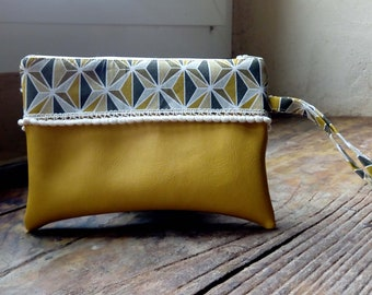 Yellow graphic pouch