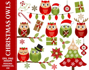 Christmas Owls Clip Art - Owl, Christmas, Xmas, Winter, Holly, Christmas Tree Clip Art