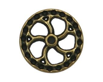 2 Steampunk Flywheel 5/8 inch ( 15 mm ) Metal Buttons Brass Color