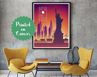 NEW YORK Sunset Skyline Art  New York   Art New York   Skyline New York   skyline New York  wall art New York   map print