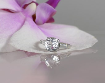 Solitaire Engagement Ring, Solitaire Ring, Sterling Silver Engagement Ring, Diamond Alternative, Conflict Free, Herkimer Diamond Ring