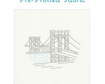 NYC BROOKLYN BRIDGE pre-printed embroidery fabric by Studiomme
