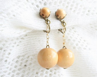 Vintage Wood Ball Dangle Earrings Chain Drops Western Germany 1960's Retro Clip On