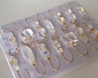 Crystal Bead Assortment - Christmas Ornament Hanger Hooks - Gold Wire - FREE SHIPPING
