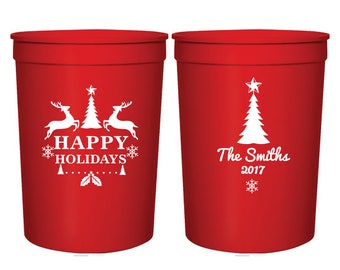 Happy Holidays Christmas Cups, Holiday Cups, Holiday Party Favor Cups, Christmas Plastic Stadium Cups, Christmas Party Plastic Cups (125)