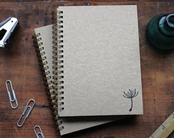 HARD COVER - Dandelion Seed - Letter pressed 5.25 x 7.25 inch journal