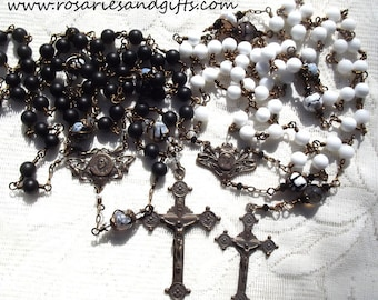 Rosary Wedding Gift Set Catholic Heirloom Wirewrapped Wire Wrapped