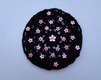 Large Bun Cover with Pink Flower Rhinestones, 24 colors, Crochet Bun Cover, Bun Wrap, Bun Holder, Ballet, Dance, Gymnastics