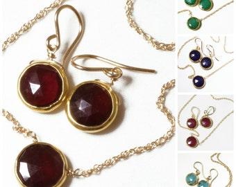 Genuine Garnet 2-piece SET Adjustable Garnet Necklace Garnet Earrings Garnet Jewelry January Birthstone Garnet Jewelry BZ-SET-105.2-Garnet/g