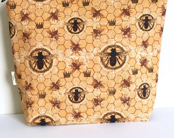 Honey bees project bag Beehive knitting bag Large project bag
