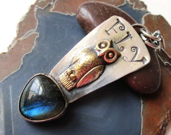 Mixed Metal Sterling Silver and Brass Fly Vintage Owl Pendant with Blue Labradorite Hand Stamped Necklace Jewelry