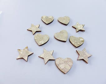 wood and embossed heart and gold stars 11 stickers