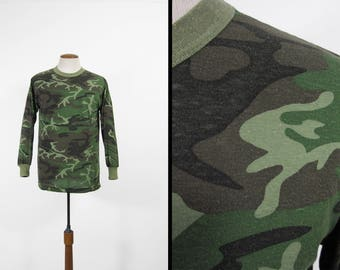 Vintage 80s Camo Shirt Long Sleeve 5050 Army Green Made in USA - Medium