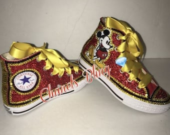 KIDS Mickey Mouse Inspired Bedazzle Bling Converse All Star Chuck Taylor  Sneakers