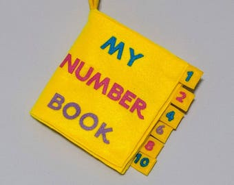 My Number Book with wooden buttons - soft book for babies and toddlers - unique baby gift ideas - baby book - yellow - preschool book