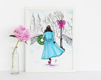 Christmas In Central Park (Fashion Print Fashion Illustration - Fashion Art - Illustration)