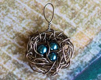 Antique Bronze Nest Necklace Charm