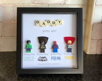 Daddy Superhero Frame, Personalised, Made to Order, Including Lego Figures. Great gift for Birthday, Fathers Day, Christmas...Hulk, Batman