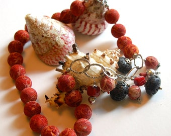 """Coral and Lava Necklace - Artisan Made - OOAK - 23"""""""