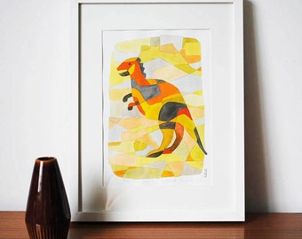 Dinosaur 1 - Nursery Art Print Mid Century Modern Print Poster yellow orange red lime green grey 8 x 10
