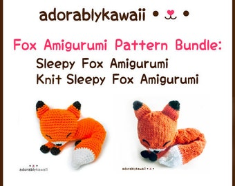 Sleepy Fox Amigurumi Pattern Bundle, Sleepy Fox Amigurumi, Knit Sleepy Fox Amigurumi, Crochet and Knit Fox Pattern Bundle, Knit Fox Pattern