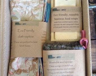 Zero waste starter kit, cloth napkins, beeswax wrap, washable sponge, sustainable, biodegradable, eco friendly gift, hostess gift
