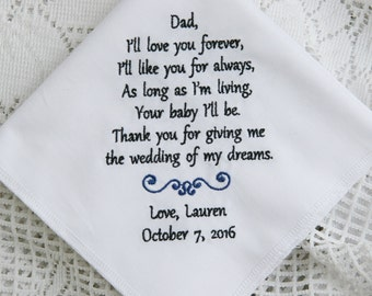 Daughter to Father- Gift For Dad -Embroidered Handkerchief Choose Your Wording and Design