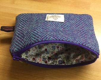 Herringbone Harris Tweed coin purse, zipped coin pouch, change purse, friend gift, little purse, stocking filler, secret santa