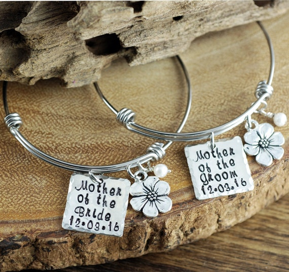 Mother of Bride / Groom gift, Set of Two Bracelets, Bridal Gifts for Mom, Wedding Jewelry, Hand Stamped Bridal Jewelry, Gift for Mom