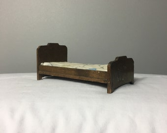 Vintage Dollhouse Wood Bed With Mattress, Miniature Doll Bed, Gift for Little Girls, Dollhouse Furniture, Miniature Collector, Dollhouse Bed