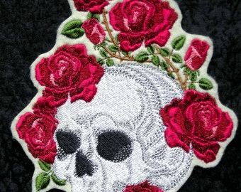 """Skull and Roses Iron On Patch, Large 5"""" X 6"""", Wild Roses, Day of the Dead, Dia de los Muertos, Biker, Motorcycle, Embroidered Patch"""
