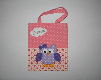 Bag child customizable, tote bag, owl, name embroidered in a cloud, pink, purple, violet, flowers, kindergarten, library bag