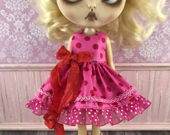 Blythe Dress - Red and Pink Spot