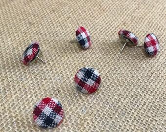 Set of 6 Red, Black & White Gingham Thumb Tacks