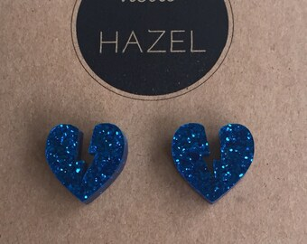 Electric Blue Lightning Bolt Heart Earrings.