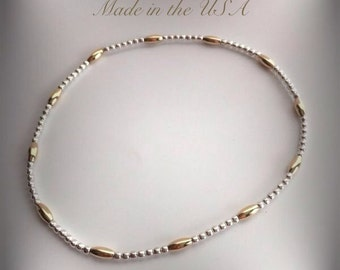 Dainty 14 k gold filled and sterling silver beaded bangle bracelet